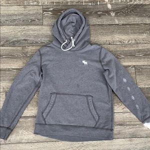 Dark gray and white abercrombie and fitch hoodie
